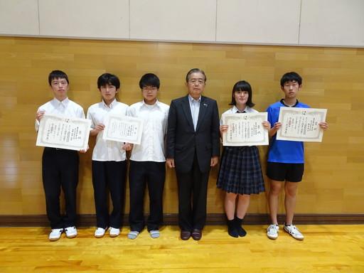 富山県高等学校将棋選手権大会の受賞披露が行われました。