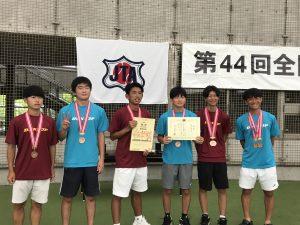 第44回全国高等専門学校テニス選手権大会で団体戦3位、男子個人戦ダブルス3位に入賞しました。